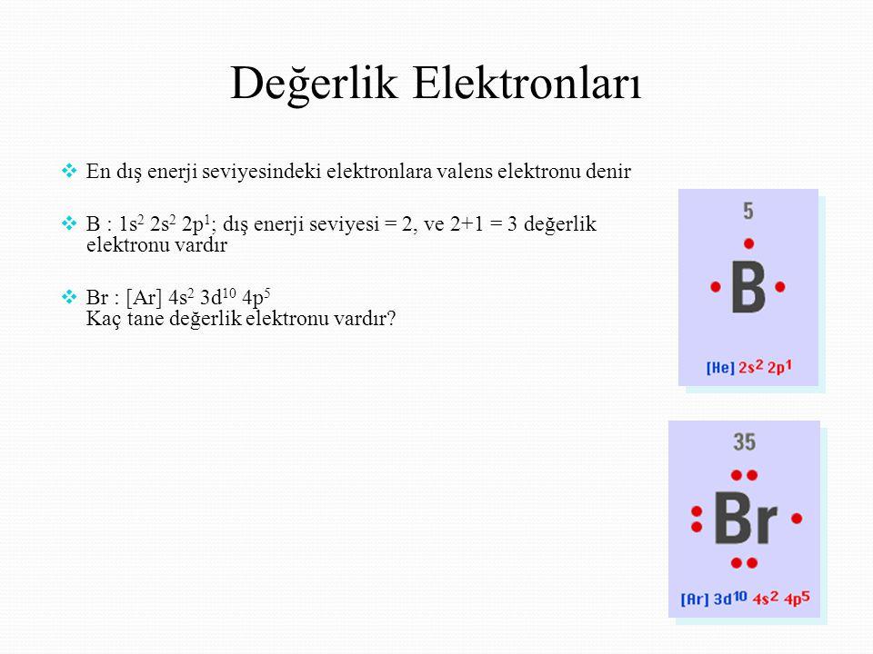 Değerlik Elektronları  En dış enerji seviyesindeki elektronlara valens elektronu denir  B : 1s 2 2s 2 2p 1 ; dış enerji seviyesi = 2, ve 2+1 = 3 değerlik elektronu vardır  Br : [Ar] 4s 2 3d 10 4p 5 Kaç tane değerlik elektronu vardır?