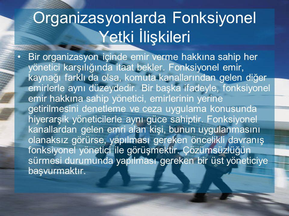 Organizasyonlarda Fonksiyonel Yetki İlişkileri Bir organizasyon içinde emir verme hakkına sahip her yönetici karşılığında itaat bekler. Fonksiyonel em