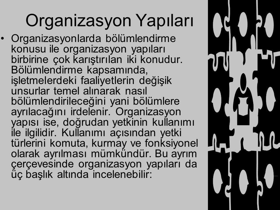 Organizasyon Yapıları Organizasyonlarda bölümlendirme konusu ile organizasyon yapıları birbirine çok karıştırılan iki konudur. Bölümlendirme kapsamınd