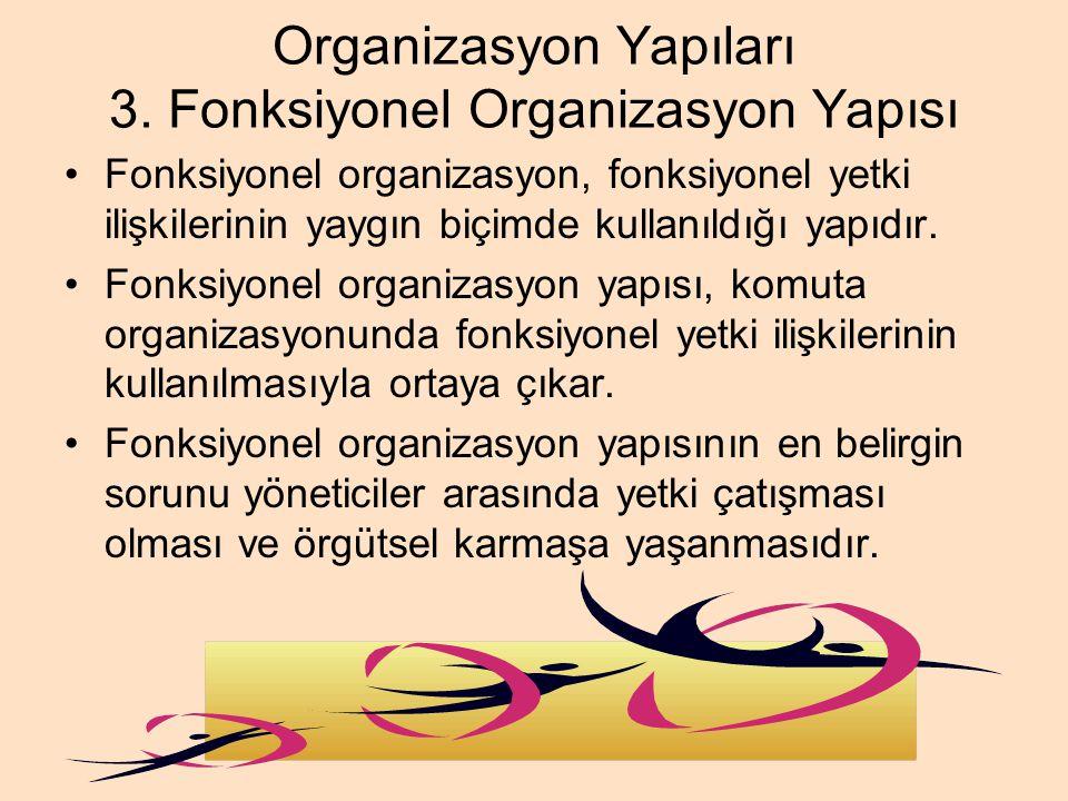 Organizasyon Yapıları 3. Fonksiyonel Organizasyon Yapısı Fonksiyonel organizasyon, fonksiyonel yetki ilişkilerinin yaygın biçimde kullanıldığı yapıdır