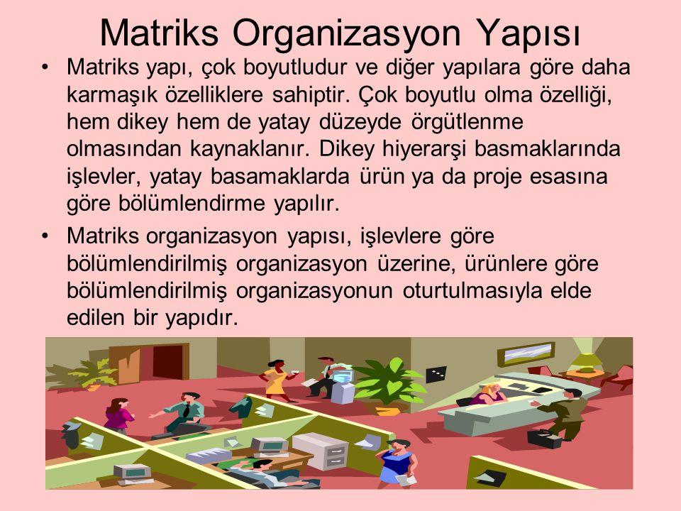 Matriks Organizasyon Yapısı Matriks yapı, çok boyutludur ve diğer yapılara göre daha karmaşık özelliklere sahiptir. Çok boyutlu olma özelliği, hem dik