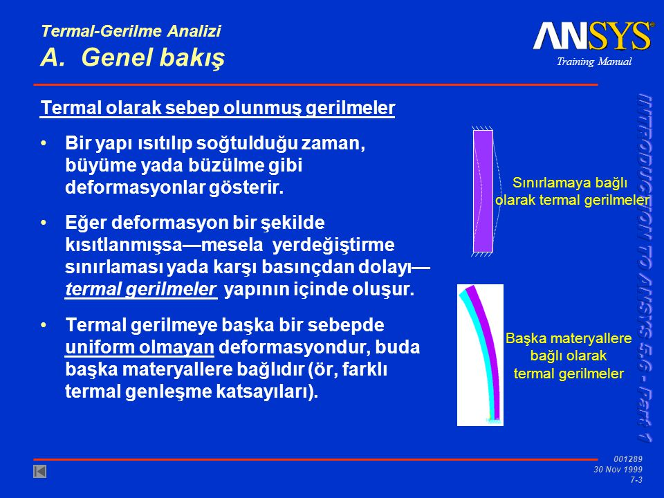 Training Manual 001289 30 Nov 1999 7-3 Termal-Gerilme Analizi A. Genel bakış Termal olarak sebep olunmuş gerilmeler Bir yapı ısıtılıp soğtulduğu zaman
