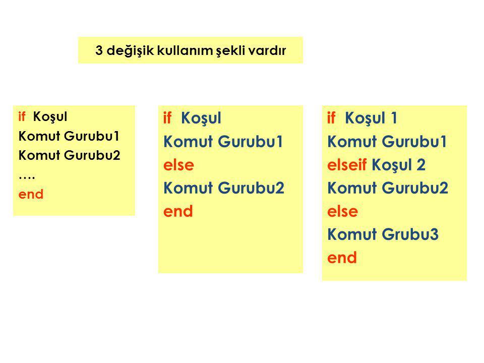 3 değişik kullanım şekli vardır if Koşul Komut Gurubu1 Komut Gurubu2 …. end if Koşul 1 Komut Gurubu1 elseif Koşul 2 Komut Gurubu2 else Komut Grubu3 en