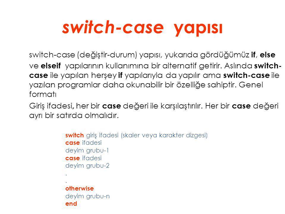 switch-case yapısı switch-case (değiştir-durum) yapısı, yukarıda gördüğümüz if, else ve elseif yapılarının kullanımına bir alternatif getirir. Aslında