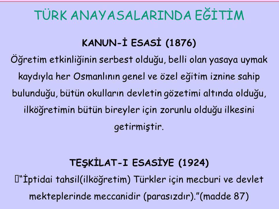 TÜRK ANAYASALARINDA EĞİTİM KANUN-İ ESASİ (1876) Öğretim etkinliğinin serbest olduğu, belli olan yasaya uymak kaydıyla her Osmanlının genel ve özel eği