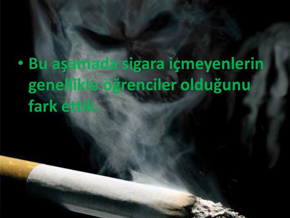 Bu aşamada sigara içmeyenlerin genellikle öğrenciler olduğunu fark ettik.