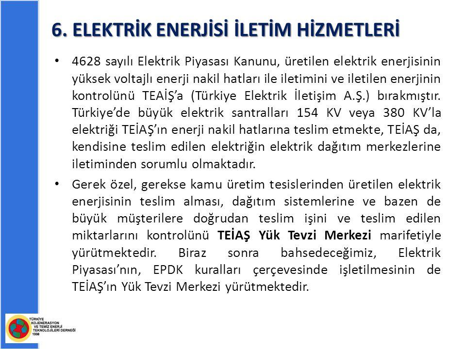 6. ELEKTRİK ENERJİSİ İLETİM HİZMETLERİ 4628 sayılı Elektrik Piyasası Kanunu, üretilen elektrik enerjisinin yüksek voltajlı enerji nakil hatları ile il