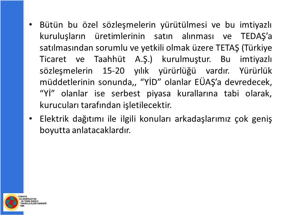 Bütün bu özel sözleşmelerin yürütülmesi ve bu imtiyazlı kuruluşların üretimlerinin satın alınması ve TEDAŞ'a satılmasından sorumlu ve yetkili olmak üzere TETAŞ (Türkiye Ticaret ve Taahhüt A.Ş.) kurulmuştur.