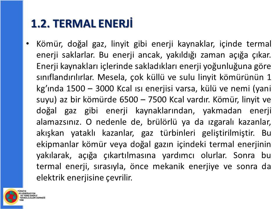 1.2.TERMAL ENERJİ Kömür, doğal gaz, linyit gibi enerji kaynaklar, içinde termal enerji saklarlar.