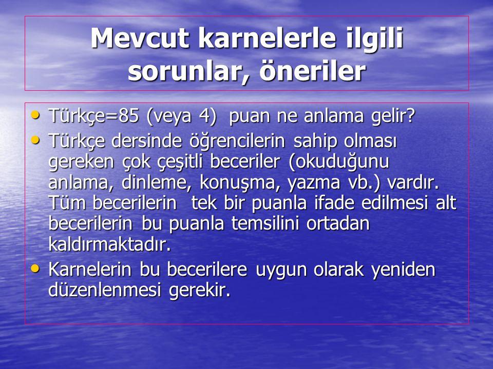 Mevcut karnelerle ilgili sorunlar, öneriler Türkçe=85 (veya 4) puan ne anlama gelir.