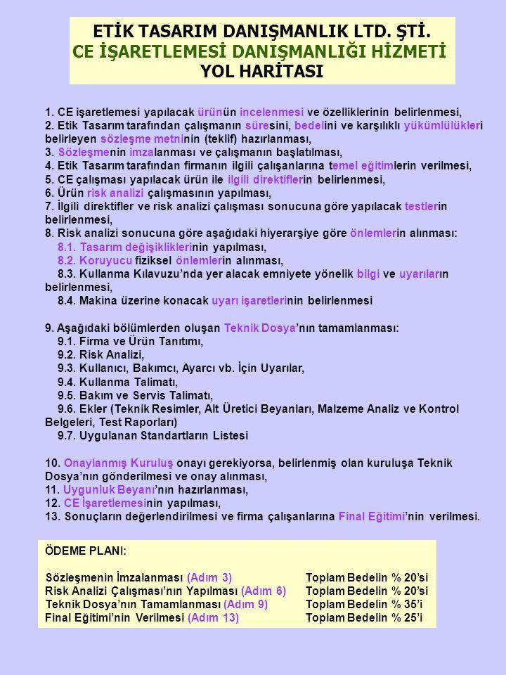 ETİK TASARIM DANIŞMANLIK LTD. ŞTİ. CE İŞARETLEMESİ DANIŞMANLIĞI HİZMETİ YOL HARİTASI 1. CE işaretlemesi yapılacak ürünün incelenmesi ve özelliklerinin