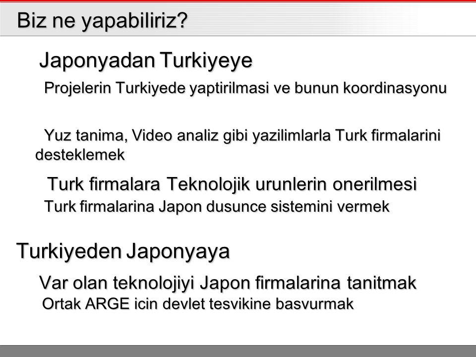 Biz ne yapabiliriz? Biz ne yapabiliriz? Japonyadan Turkiyeye Japonyadan Turkiyeye Turkiyeden Japonyaya Projelerin Turkiyede yaptirilmasi ve bunun koor