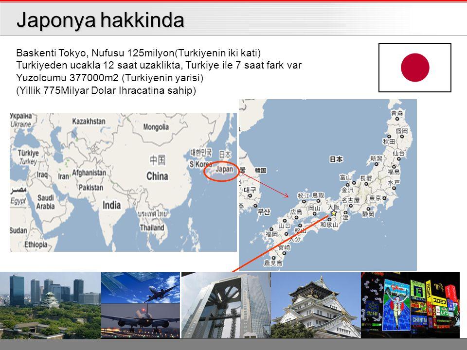 Japonya hakkinda Japonya hakkinda Baskenti Tokyo, Nufusu 125milyon(Turkiyenin iki kati) Turkiyeden ucakla 12 saat uzaklikta, Turkiye ile 7 saat fark var Yuzolcumu 377000m2 (Turkiyenin yarisi) (Yillik 775Milyar Dolar Ihracatina sahip)