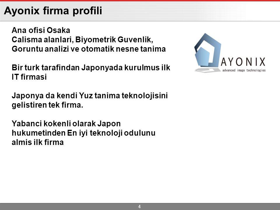 Ayonix firma profili 4 Ana ofisi Osaka Calisma alanlari, Biyometrik Guvenlik, Goruntu analizi ve otomatik nesne tanima Bir turk tarafindan Japonyada kurulmus ilk IT firmasi Japonya da kendi Yuz tanima teknolojisini gelistiren tek firma.