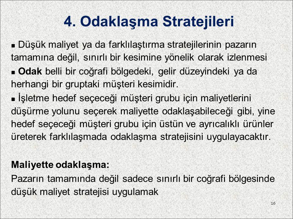 4. Odaklaşma Stratejileri Düşük maliyet ya da farklılaştırma stratejilerinin pazarın tamamına değil, sınırlı bir kesimine yönelik olarak izlenmesi Oda