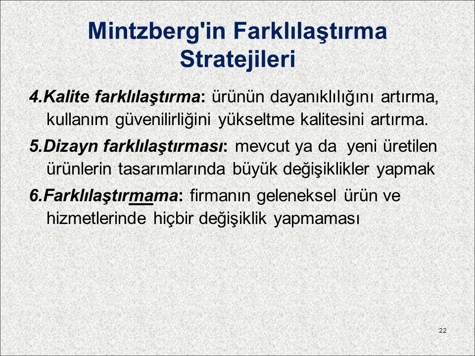 Mintzberg'in Farklılaştırma Stratejileri 4.Kalite farklılaştırma: ürünün dayanıklılığını artırma, kullanım güvenilirliğini yükseltme kalitesini artırm