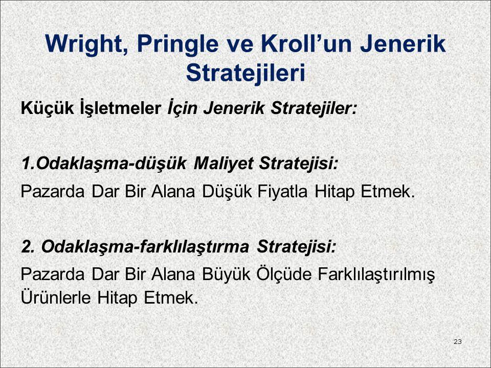 Wright, Pringle ve Kroll'un Jenerik Stratejileri Küçük İşletmeler İçin Jenerik Stratejiler: 1.Odaklaşma-düşük Maliyet Stratejisi: Pazarda Dar Bir Alan