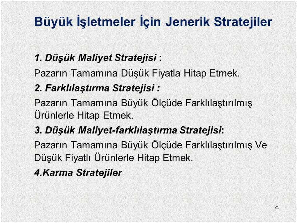 Büyük İşletmeler İçin Jenerik Stratejiler 1. Düşük Maliyet Stratejisi : Pazarın Tamamına Düşük Fiyatla Hitap Etmek. 2. Farklılaştırma Stratejisi : Paz