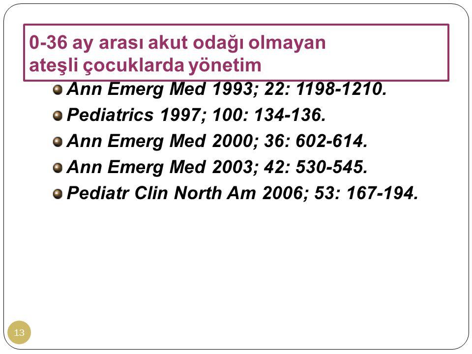 0-36 ay arası akut odağı olmayan ateşli çocuklarda yönetim 13 Ann Emerg Med 1993; 22: 1198-1210. Pediatrics 1997; 100: 134-136. Ann Emerg Med 2000; 36