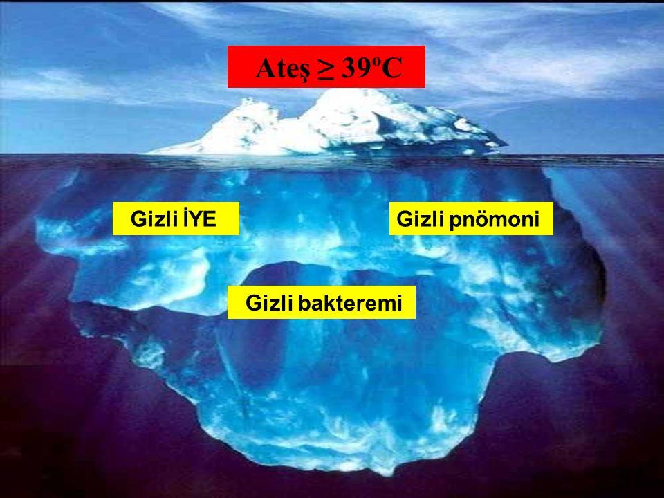 28 Ateş ≥ 39ºC Gizli İYEGizli pnömoni Gizli bakteremi