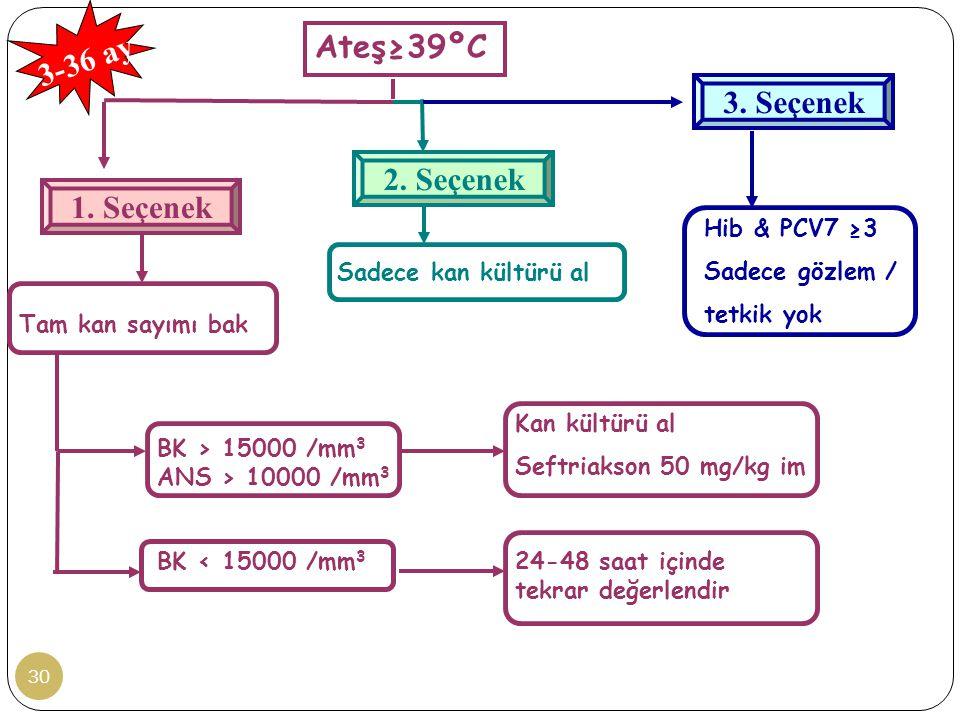 30 Ateş≥39ºC 3. Seçenek 1. Seçenek Tam kan sayımı bak BK > 15000 /mm 3 ANS > 10000 /mm 3 BK < 15000 /mm 3 Kan kültürü al Seftriakson 50 mg/kg im 24-48