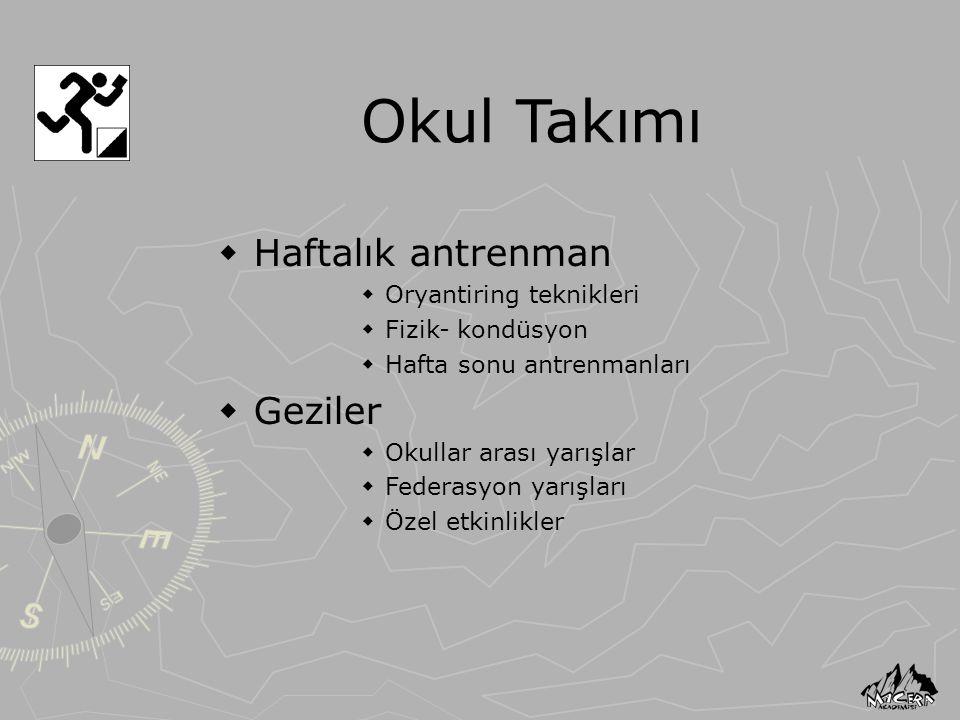 Okul Takımı  Haftalık antrenman  Oryantiring teknikleri  Fizik- kondüsyon  Hafta sonu antrenmanları  Geziler  Okullar arası yarışlar  Federasyo