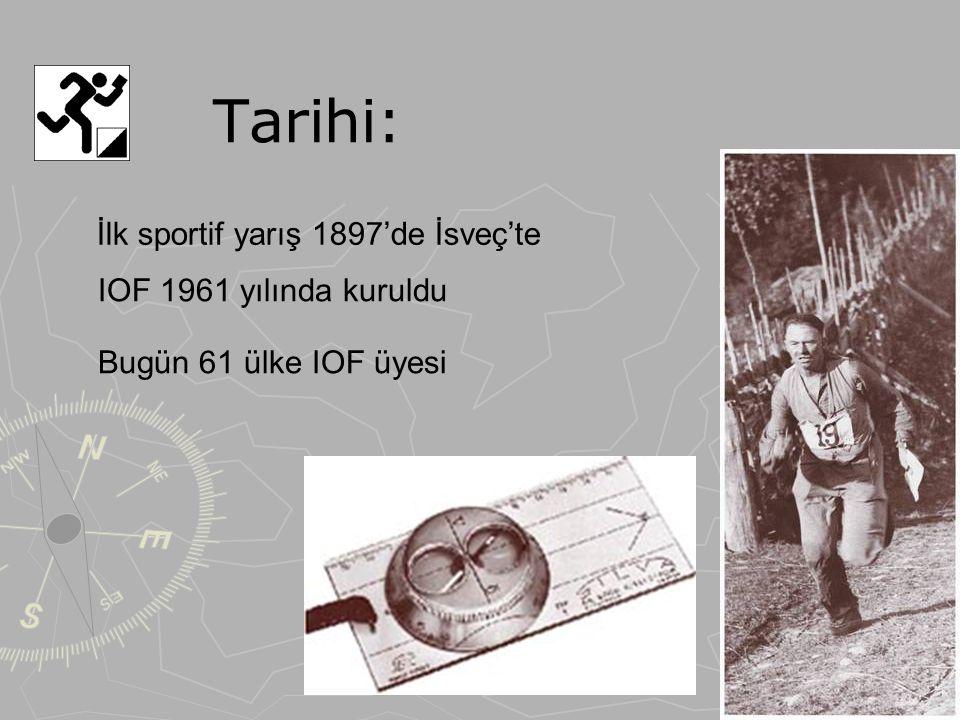 Tarihi: İlk sportif yarış 1897'de İsveç'te IOF 1961 yılında kuruldu Bugün 61 ülke IOF üyesi