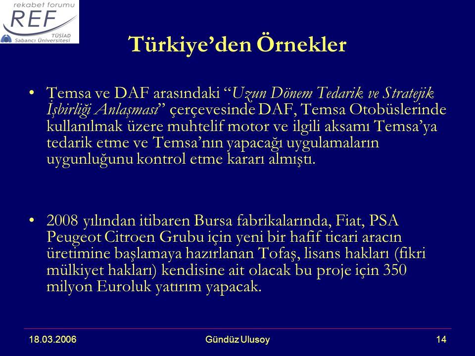 18.03.2006Gündüz Ulusoy14 Türkiye'den Örnekler Temsa ve DAF arasındaki Uzun Dönem Tedarik ve Stratejik İşbirliği Anlaşması çerçevesinde DAF, Temsa Otobüslerinde kullanılmak üzere muhtelif motor ve ilgili aksamı Temsa'ya tedarik etme ve Temsa'nın yapacağı uygulamaların uygunluğunu kontrol etme kararı almıştı.