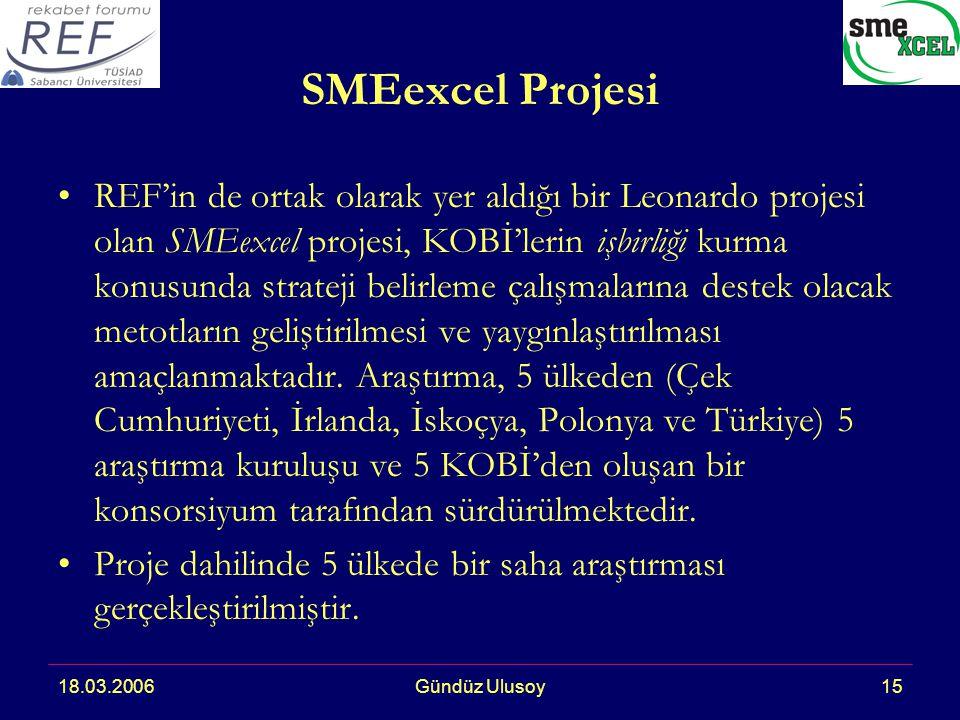 18.03.2006Gündüz Ulusoy15 SMEexcel Projesi REF'in de ortak olarak yer aldığı bir Leonardo projesi olan SMEexcel projesi, KOBİ'lerin işbirliği kurma konusunda strateji belirleme çalışmalarına destek olacak metotların geliştirilmesi ve yaygınlaştırılması amaçlanmaktadır.