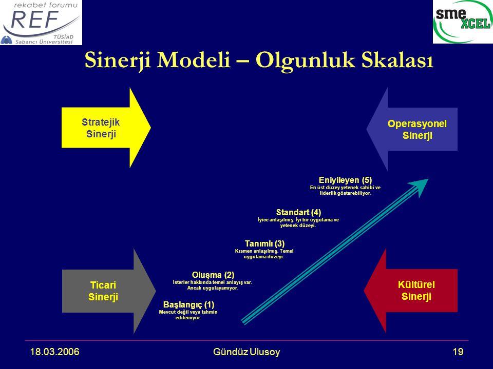 18.03.2006Gündüz Ulusoy19 Sinerji Modeli – Olgunluk Skalası Eniyileyen (5) En üst düzey yetenek sahibi ve liderlik gösterebiliyor.