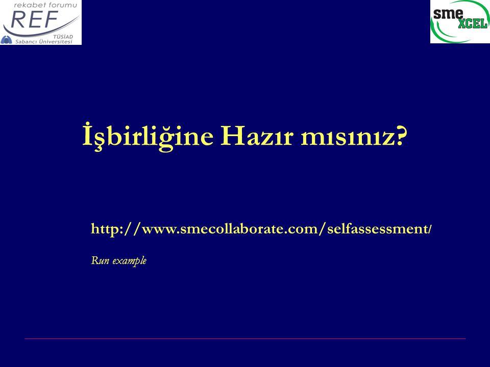 İşbirliğine Hazır mısınız? http://www.smecollaborate.com/selfassessment / Run example
