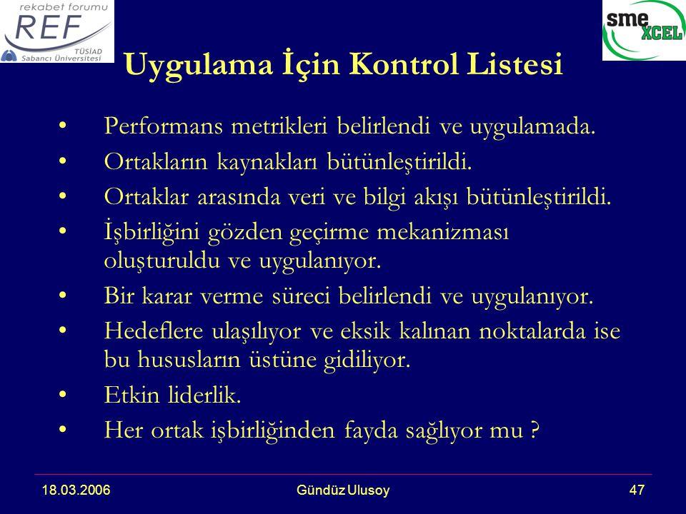 18.03.2006Gündüz Ulusoy47 Uygulama İçin Kontrol Listesi Performans metrikleri belirlendi ve uygulamada.