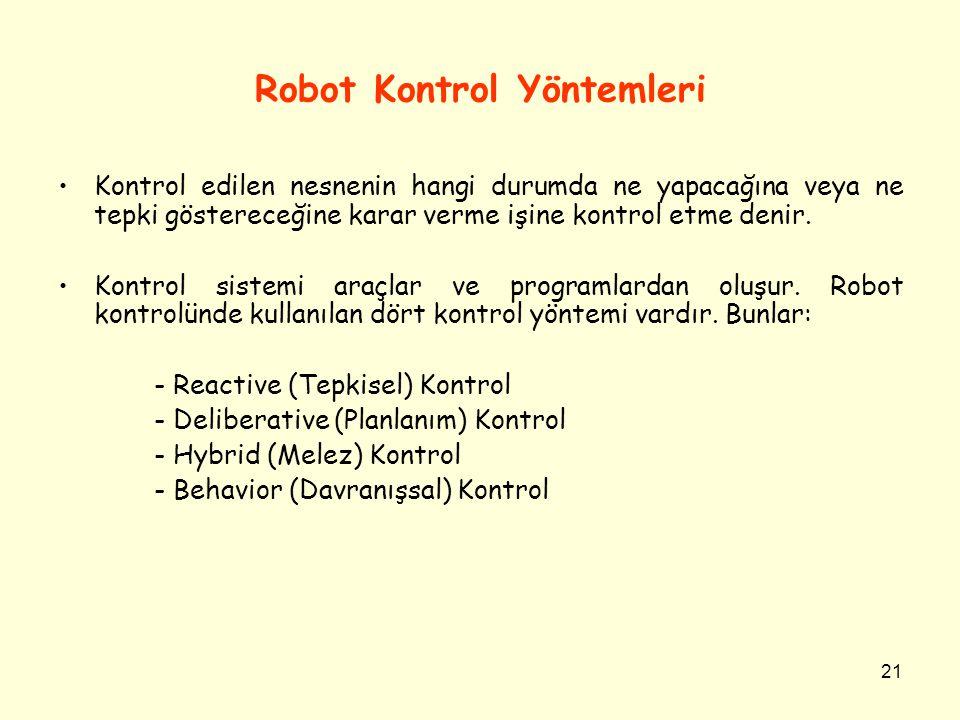 21 Robot Kontrol Yöntemleri Kontrol edilen nesnenin hangi durumda ne yapacağına veya ne tepki göstereceğine karar verme işine kontrol etme denir. Kont