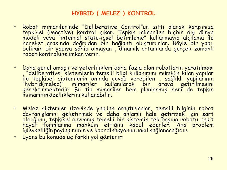 """26 HYBRID ( MELEZ ) KONTROL Robot mimarilerinde """"Deliberative Control""""un zıttı olarak karşımıza tepkisel (reactive) kontrol çıkar. Tepkin mimariler hi"""