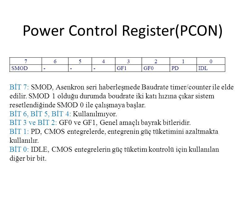 Power Control Register(PCON) BİT 7: SMOD, Asenkron seri haberleşmede Baudrate timer/counter ile elde edilir. SMOD 1 olduğu durumda boudrate iki katı h
