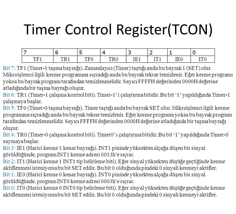 Timer Control Register(TCON) Bit 7: TF1 (Timer-1 taşma bayrağı). Zamanlayıcı (Timer) taştığı anda bu bayrak 1 (SET) olur. Mikroişlemci ilgili kesme pr