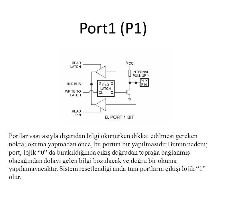 Port1 (P1) Portlar vasıtasıyla dışarıdan bilgi okunurken dikkat edilmesi gereken nokta; okuma yapmadan önce, bu portun bir yapılmasıdır.Bunun nedeni;