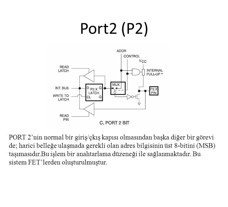 Port2 (P2) PORT 2'nin normal bir giriş/çkış kapısı olmasından başka diğer bir görevi de; harici belleğe ulaşmada gerekli olan adres bilgisinin üst 8-b