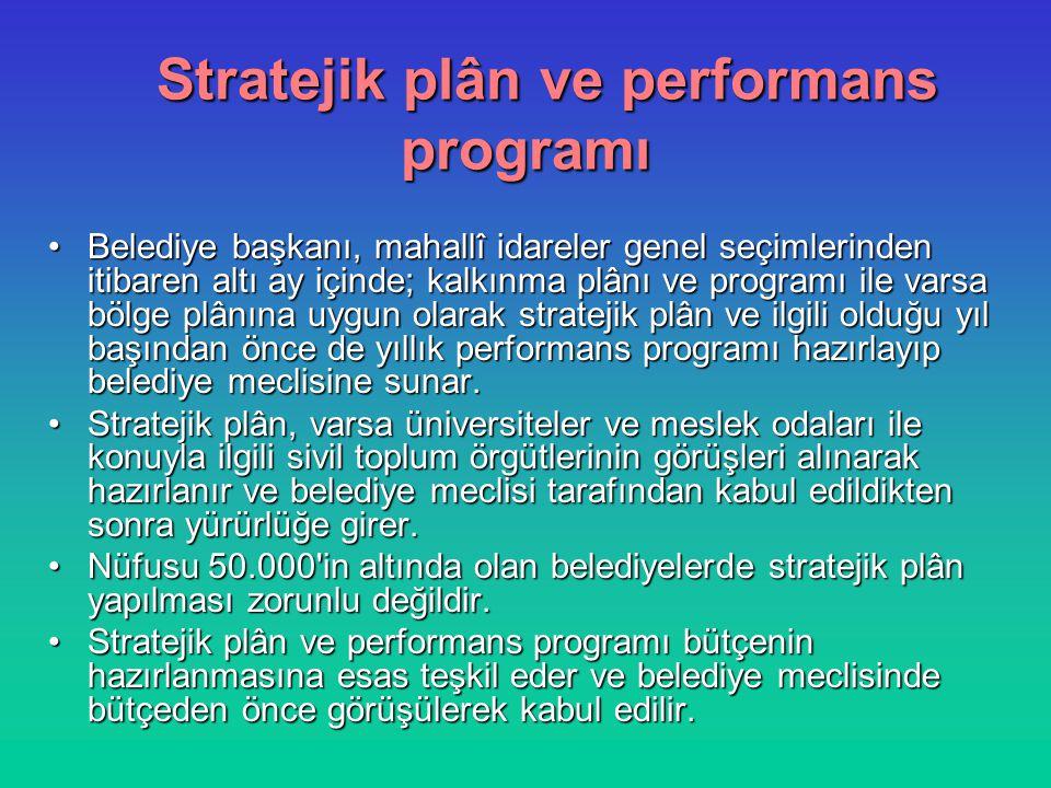 Stratejik plân ve performans programı Belediye başkanı, mahallî idareler genel seçimlerinden itibaren altı ay içinde; kalkınma plânı ve programı ile v