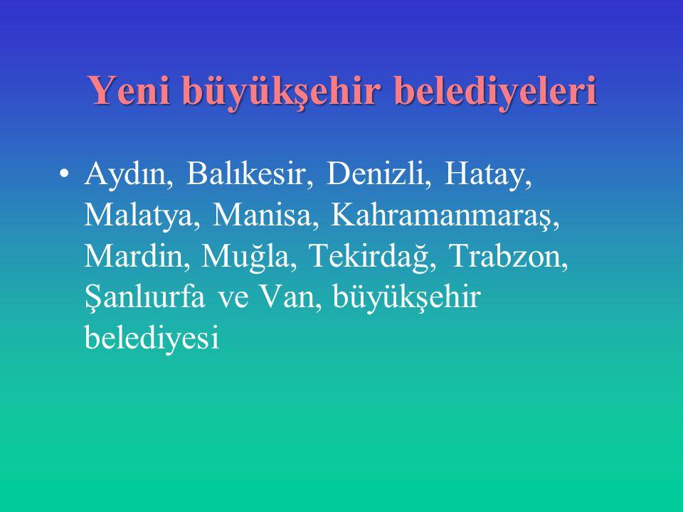 Yeni büyükşehir belediyeleri Aydın, Balıkesir, Denizli, Hatay, Malatya, Manisa, Kahramanmaraş, Mardin, Muğla, Tekirdağ, Trabzon, Şanlıurfa ve Van, büy
