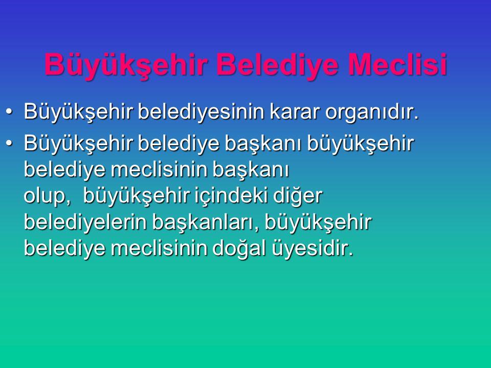 Büyükşehir Belediye Meclisi Büyükşehir belediyesinin karar organıdır.Büyükşehir belediyesinin karar organıdır. Büyükşehir belediye başkanı büyükşehir