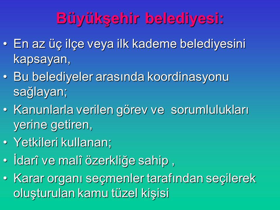 Büyükşehir belediyesinin organları: Büyükşehir belediye meclisi Büyükşehir belediye encümeni Büyükşehir belediye başkanı