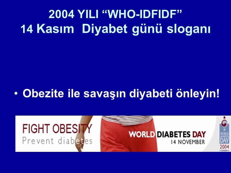 """2004 YILI """"WHO-IDFIDF"""" 14 Kasım Diyabet günü sloganı Obezite ile savaşın diyabeti önleyin!"""