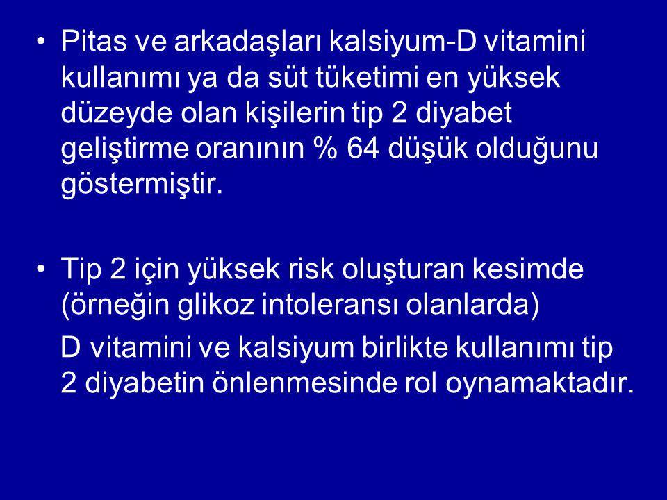 DPP Çalışması (Diabetes Prevention Program) 3234 hasta IGT Yaş 51 Obez VKI:341 –1.grup: Yaşam tarzı değişiklikleri diyet—egzersiz –2.grup: grup: Metformin –3.grup: Plasebo İzlem süresi 2,8 yıl Diyabet oluşmasında; –1.
