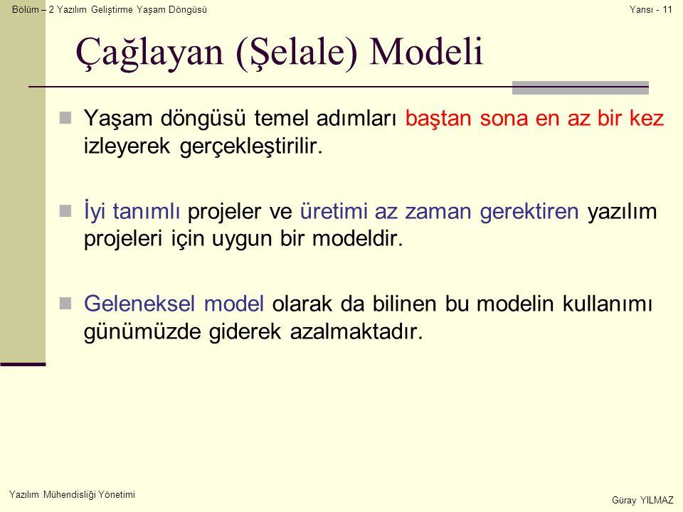Bölüm – 2 Yazılım Geliştirme Yaşam Döngüsü Yazılım Mühendisliği Yönetimi Güray YILMAZ Yansı - 11 Çağlayan (Şelale) Modeli Yaşam döngüsü temel adımları