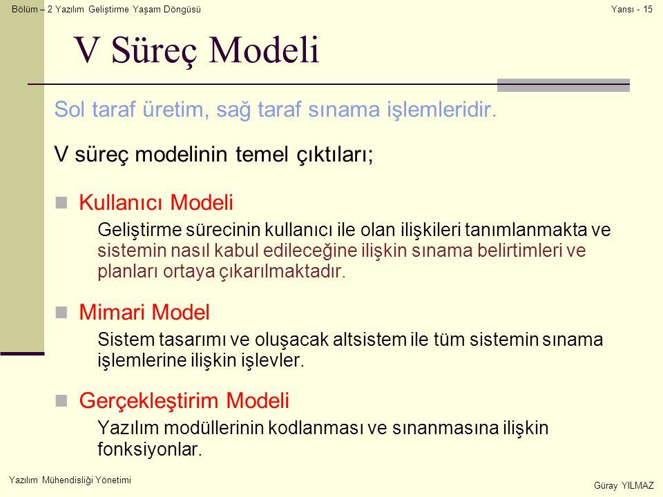 Bölüm – 2 Yazılım Geliştirme Yaşam Döngüsü Yazılım Mühendisliği Yönetimi Güray YILMAZ Yansı - 15 V Süreç Modeli Sol taraf üretim, sağ taraf sınama işlemleridir.