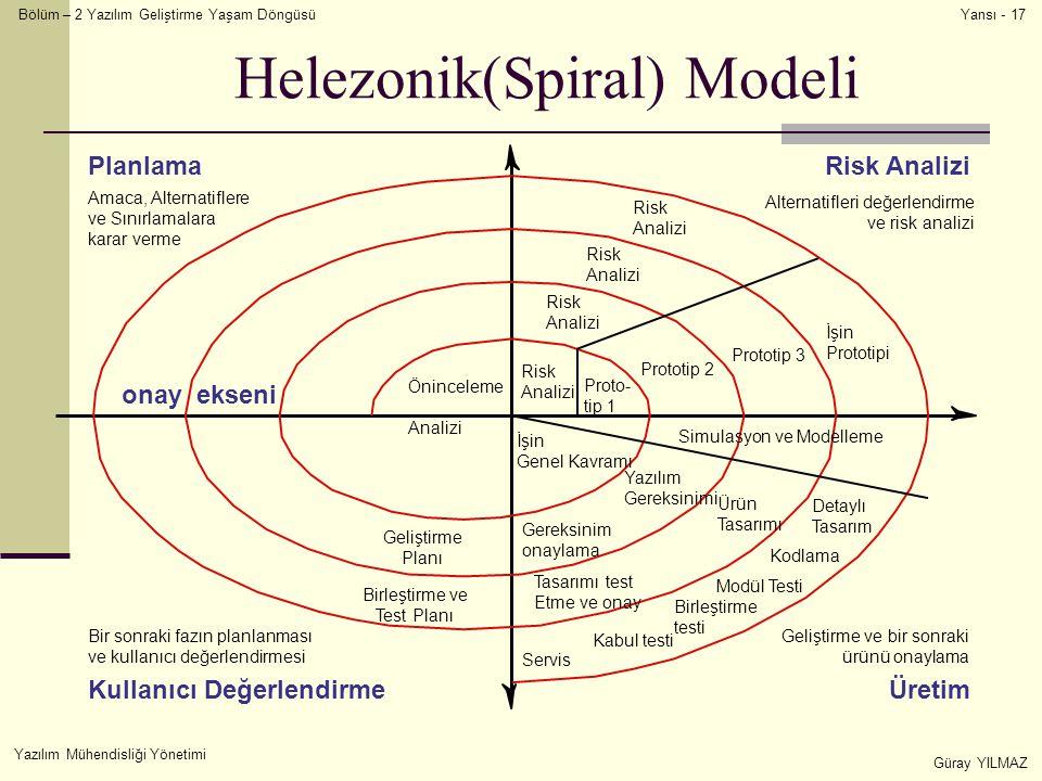 Bölüm – 2 Yazılım Geliştirme Yaşam Döngüsü Yazılım Mühendisliği Yönetimi Güray YILMAZ Yansı - 17 Helezonik(Spiral) Modeli Risk Analizi Risk Analizi Risk Analizi Risk Analizi Proto- tip 1 Prototip 2 Prototip 3 İşin Prototipi Öninceleme Analizi İşin Genel Kavramı Geliştirme Planı Birleştirme ve Test Planı Yazılım Gereksinimi Gereksinim onaylama Ürün Tasarımı Tasarımı test Etme ve onay Detaylı Tasarım Kodlama Modül Testi Birleştirme testi Kabul testi Servis Simulasyon ve Modelleme Amaca, Alternatiflere ve Sınırlamalara karar verme Alternatifleri değerlendirme ve risk analizi Bir sonraki fazın planlanması ve kullanıcı değerlendirmesi Geliştirme ve bir sonraki ürünü onaylama onay ekseni PlanlamaRisk Analizi ÜretimKullanıcı Değerlendirme
