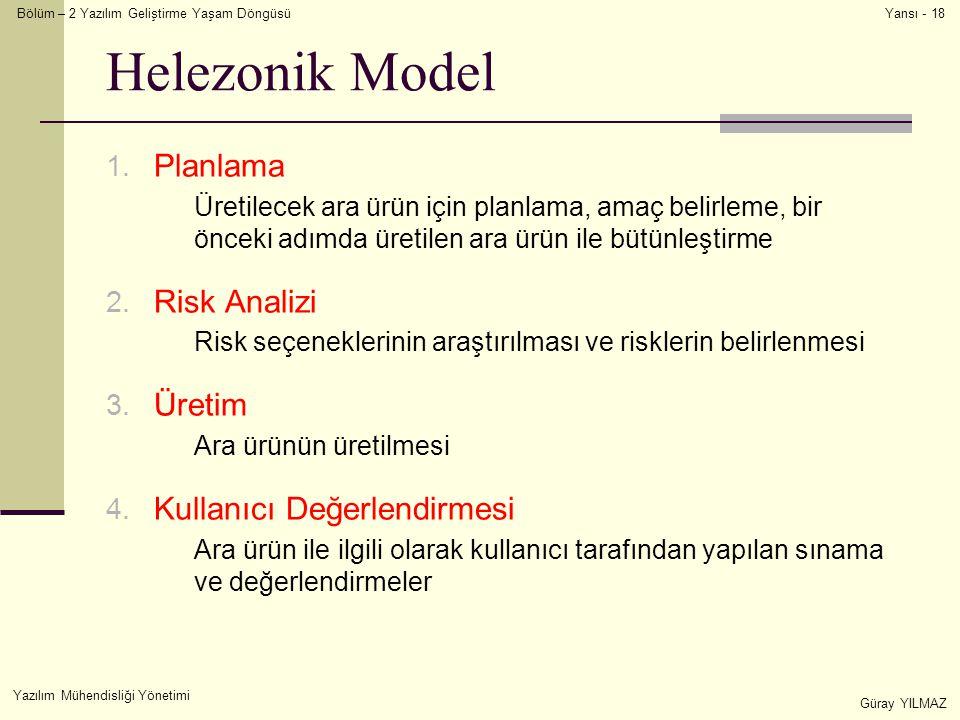Bölüm – 2 Yazılım Geliştirme Yaşam Döngüsü Yazılım Mühendisliği Yönetimi Güray YILMAZ Yansı - 18 Helezonik Model 1. Planlama Üretilecek ara ürün için