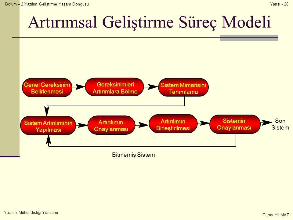 Bölüm – 2 Yazılım Geliştirme Yaşam Döngüsü Yazılım Mühendisliği Yönetimi Güray YILMAZ Yansı - 26 Artırımsal Geliştirme Süreç Modeli Genel Gereksinim Belirlenmesi Gereksinimleri Artırımlara Bölme Sistem Mimarisini Tanımlama Sistem Artırılımının Yapılması Artırılımın Onaylanması Artırılımın Birleştirilmesi Sistemin Onaylanması Son Sistem Bitmemiş Sistem