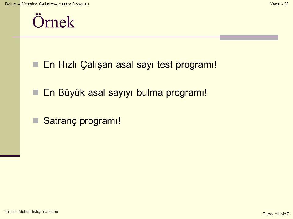 Bölüm – 2 Yazılım Geliştirme Yaşam Döngüsü Yazılım Mühendisliği Yönetimi Güray YILMAZ Yansı - 28 Örnek En Hızlı Çalışan asal sayı test programı! En Bü